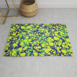 navy blue and green coloured marbling art Rug