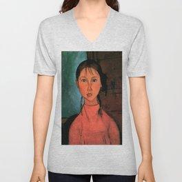 "Amedeo Modigliani ""Girl with Braids"" Unisex V-Neck"