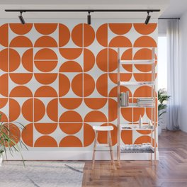 Mid Century Modern Geometric 04 Orange Wall Mural