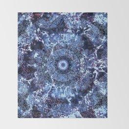 Iris Mandala Blue Throw Blanket