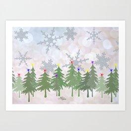 Brrrrrr Glittery Snowflake Snowy Forest Art Print