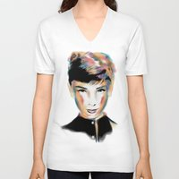 audrey hepburn V-neck T-shirts featuring Audrey Hepburn by Geryes