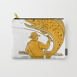 Fly Fisherman Reeling Trout Drawing Carry-All Pouch