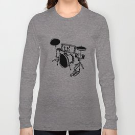 Drum Kit Rock Black White Long Sleeve T-shirt