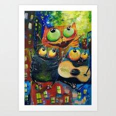 Spring cats Art Print