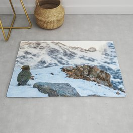 Kea parrot bird in the snow mountains of New Zealand Rug