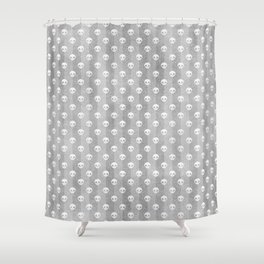 Grey & White Skulls Shower Curtain