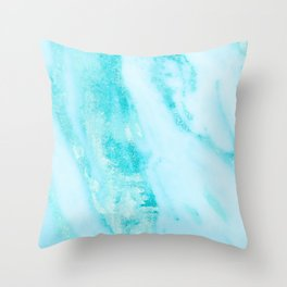 Shimmery Teal Ocean Blue Turquoise Marble Metallic Throw Pillow