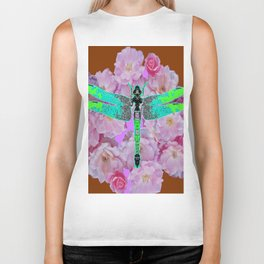 EMERALD DRAGONFLY PINK ROSES COFFEE BROWN Biker Tank