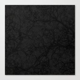 Dark Black Hunting Camo Pattern Canvas Print