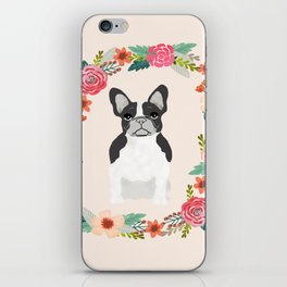 french bulldog black and white floral wreath flowers dog breed gifts corgis iPhone Skin