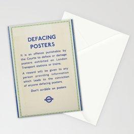 Vintage London Underground Notice Stationery Cards