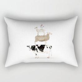 Four Stacked Farm Animals Rectangular Pillow