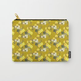 Mustard Floral /  Yellow Roses on mustard Carry-All Pouch