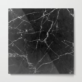 White Gold Glitter and Marble Metal Print