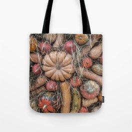 Pumpkins on hay Tote Bag