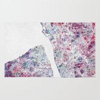 liverpool Area & Throw Rugs featuring Liverpool map by MapMapMaps.Watercolors