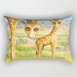 Giraffe and Calf Rectangular Pillow