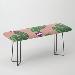 Prickly Cactus with Purple Flowers Bench