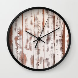 Rustic white wood. Shabby chic antique wooden texture. Wall Clock