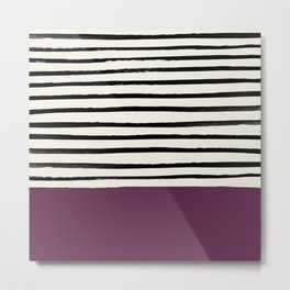 Plum x Stripes Metal Print