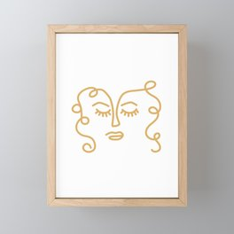 Curly Hair Don't Care - Minimalist Line Drawing Portrait of a Woman in Mustard Yellow on White Framed Mini Art Print