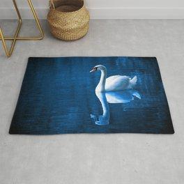 Beautiful Swan Blue Lake Rug