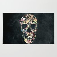 instagram Area & Throw Rugs featuring Vintage Skull by Ali GULEC