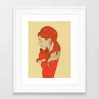 lady Framed Art Prints featuring Lady Fox by Huebucket