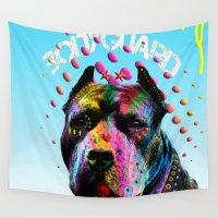 pitbull Wall Tapestries featuring pitbull  by mark ashkenazi