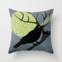 crow Throw Pillows featuring Crow by Nir P