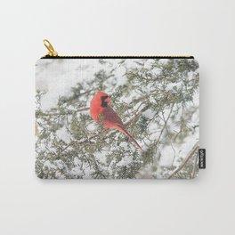 Cardinal on a Snowy Cedar Branch Carry-All Pouch