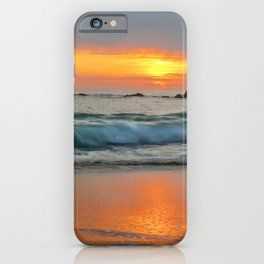 Golden sunset with turquoise waters iPhone Case