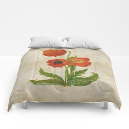 Vintage painting - Bunch of poppies Poppy Flower floral Comforters