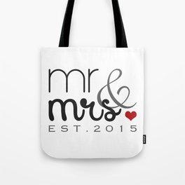 Mr. & Mrs. Typography - EST. 2015 Tote Bag