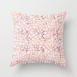 Crackle Rose Gold Foil Throw Pillow