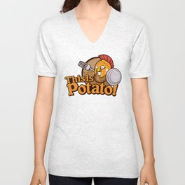 Potato Spartan Warrior Cartoon Unisex V-Neck