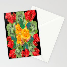 Yellow Roses Red Geraniums Green-Black Patters Stationery Cards