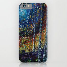 Moonlight Sonata With Aspen Trees Palette Knife Painting iPhone Case