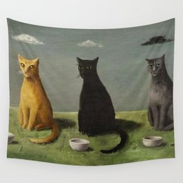 Three Cats with Clouds That Follow Them Everywhere by Gertrude Abercrombie Wall Tapestry