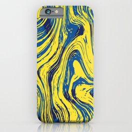 Marbled Yellow and Blue iPhone Case