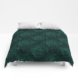 Elegant abstract forest green glitter tropical leaves Comforters
