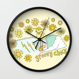 groovy chick // retro surf art by surfy birdy Wall Clock