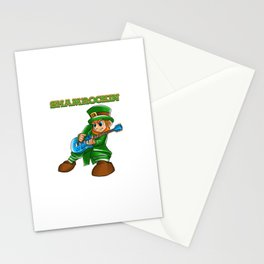 Shamrockin_ Leprechaun Guitarist St Patricks Stationery Cards