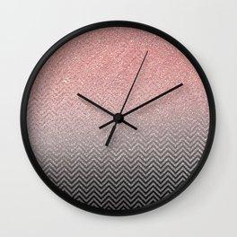Blush chic pink  silver faux glitter geometrical Wall Clock