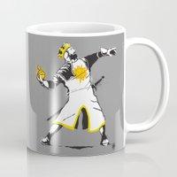 banksy Mugs featuring Banksy Python 1-2-5 by kgullholmen