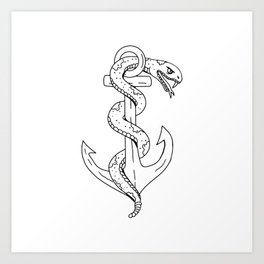 Rattlesnake Coiling on Anchor Drawing Art Print