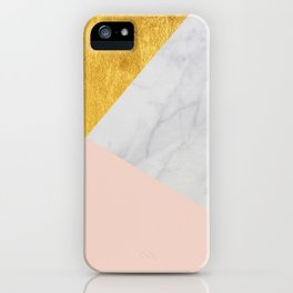 Carrara Marble with Gold and Pantone Pale Dogwood Color iPhone Case