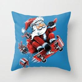 Santa Skateboarding Throw Pillow