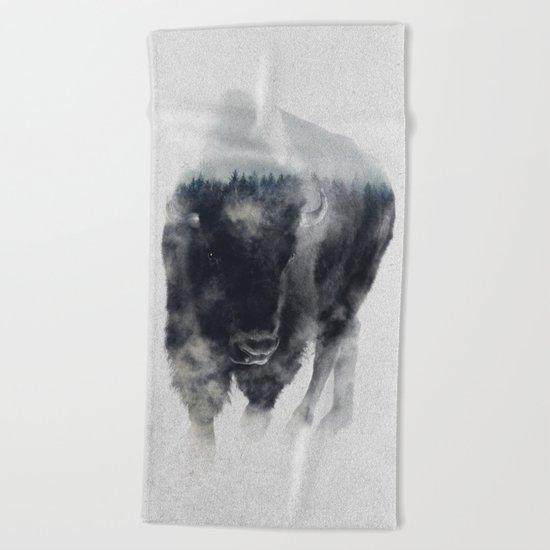 Bison In Mist Beach Towel